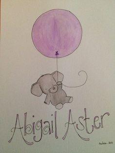 Baby Elephant Nursery Art  personalized and unframed by bohoFresh