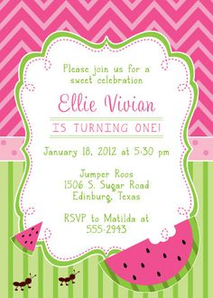 printable pink watermelon birthday invitation | summer girl, Birthday invitations