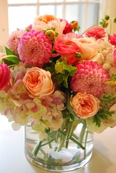 21f817215ba4c Roses, hydrangea, dahlia & ranunculus. Bright and fun for a rehearsal  dinner!
