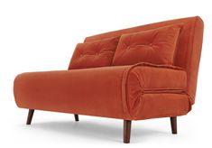 Sovesofa, 1 og 2 persons, 2840,- flere farver Sofa Bed Orange, Orange Bedding, Sofa Bed Vintage, Modular Sofa Bed, Single Couch, Canapé Simple, Velvet Sofa Bed, Box Bedroom, Best Bedding Sets