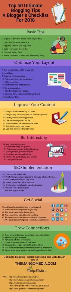 Top 50 Ultimate Blogging Tips A Blogger's Checklist For 2016 - #blog #bloggingtips #seo #content #blogcontent #digitalmarketing  - @themangomedia Web Design Tips, Digital Marketing Services, Online Business, Seo, Improve Yourself, Blogging, Content