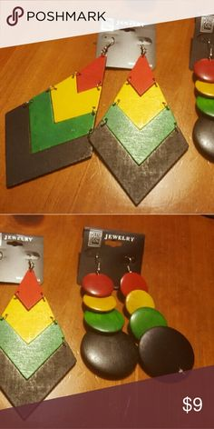 Jamaican Colors Pointed & 4 Disc Wood Earring Duo! 2 pairs of earrings, new. Jewelry Earrings