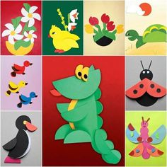 artesanato - arte feita com círculos de papel. animais - educacao infantil: