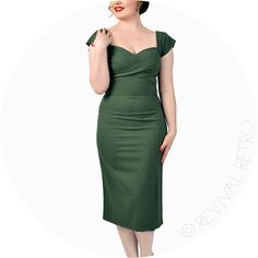 Stop Staring Dress Mad Men Style Olive- Retro Revival
