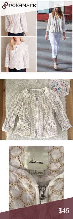 """EUC Anthropologie Elevenses Mezcla Eyelet Jacket In great pre-loved condition zip up Peplum Eyelet jacket from Anthropologie in size 6. No major flaws. Pockets in front. Measure approximately almost 21"""" length, 17"""" pit to pit, 16.5"""" sleeves. ❌No trades or modeling. Always open to reasonable offers. Bundle more items together to save more. Thank you‼️ Anthropologie Jackets & Coats Blazers"""