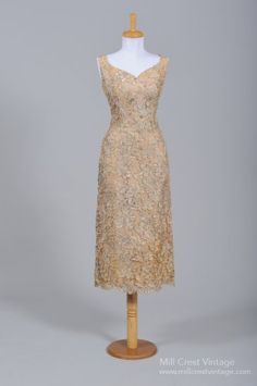 1950's Champagne Silk Lace & Pearl Vintage Wedding Dress
