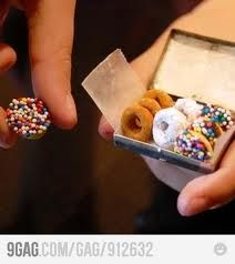 """Cheerio Elf DOnuts :o)) April fool's day, Any day...  You decorate Cheerios with sprinkles, non-pareils, cinnamon, powdered sugar or whatever. Small tubes of icing are the """"glue"""" and can also be used to make """"glazed"""" donuts. How cute is this?!"""
