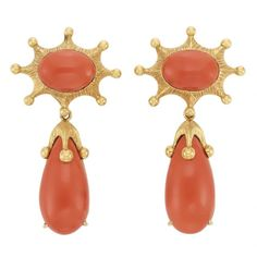 Lot 374 Pair of Gold and Coral Pendant-Earclips, Tony Duquette 18 kt., topped by two 2 oval cabochon coral approximately x mm. Coral Earrings, Coral Jewelry, Fine Jewelry, Coral And Gold, Art Carved, Schmuck Design, Gold Texture, Animal Jewelry, Jewelery