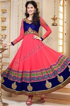 Blue and Pink Georgette Churidar Suit. Design No. DMA12604, Price :  £64.00, Quick Overview Dress Type:Churidar Suit Fabric:Georgette Colour:Blue and Pink Embellishments:Designed with Embroidered, Resham, Zari work. More Details Visit @ http://www.andaazfashion.co.uk/salwar-kameez/anarkali-suits/