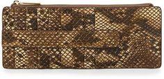 purr -- Neiman Marcus Metallic Snake-Embossed Leather Slim Wallet, Natural  -- http://www.hagglekat.com/neiman-marcus-metallic-snake-embossed-leather-slim-wallet-natural/