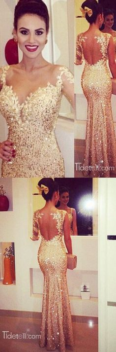 2016 long prom dress, prom dresses, one-shoulder prom dress, gold sequined prom…