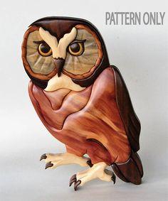 Saw Whet Owl Intarsia Scrollsaw Pattern PDF Digital Download