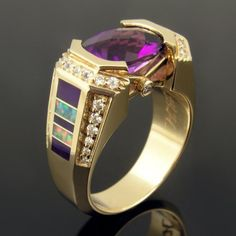 If you love purples and reds, this unique Australian opal ring is for you! Perfect combination of purple sugilite, diamonds, amethyst and top grade red opal. Amethyst Wedding Rings, Australian Opal Jewelry, Handmade Wedding Rings, Deco Engagement Ring, Schmuck Design, Crystal Earrings, Art Nouveau, Gemstones, Cushion Cut