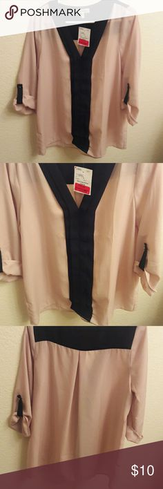 Brand new chiffon style shirt Brand new with tag, size medium faith and joy Tops Blouses