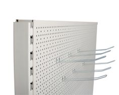 Peg board shelving for a variety of retail stores