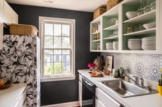 This Woman Got Over Her Divorce By Giving Her Home a Jaw-Dropping Makeover Love the Frig Rental Makeover, Rental Kitchen Makeover, Kitchen Items, Diy Kitchen, Kitchen Design, Kitchen Sink, Open Cabinets, Kitchen Cabinets, Dorm Room Checklist