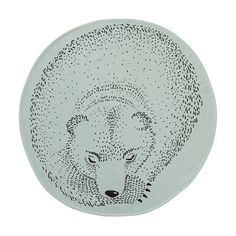 """Tapis Rond Ours """"Sleeping Bear"""" menthe Bloomingville - 80 cm"""