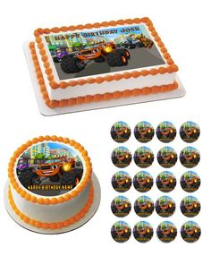 BLAZE AND THE MONSTER MACHINE Edible Birthday Cake Topper OR Cupcake Topper, Decor