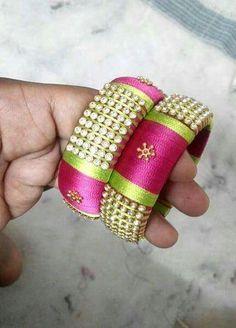 Silk Thread Bangles Design, Silk Bangles, Silk Thread Earrings, Bridal Bangles, Thread Jewellery, Beaded Wrap Bracelets, Paper Jewelry, Bangles Making, Imitation Jewelry