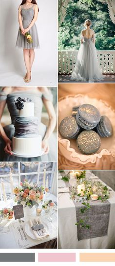 grey wedding color ideas and tulle bridesmaid dress
