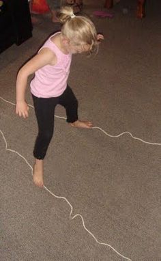 Wide walking: after children have mastered walking on a line, make two lines that they follow with each foot