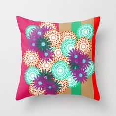 Throw Pillow Cover , Red Green Magenta and Tan Pillow Cover, Indoor or Outdoor Pillow Cover, Photo Pillow Cover