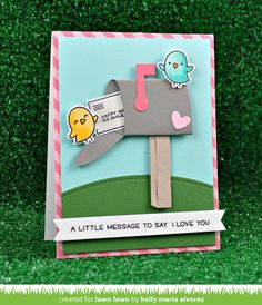 Create your own mailbox with this set of custom craft dies. You can also create a tiny envelope and seal it with a heart, or add a happy face to the back of the