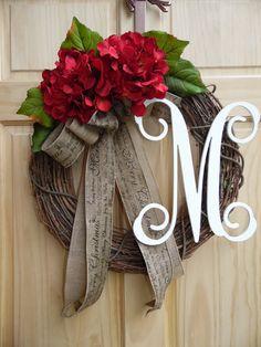Christmas Wreath Burlap Wreath Door Wreath Home Decor Hydrangea Wreath Autumn Wreath Monogram Wreath Fall Wreath Thanksgiving Wreath – Grapevine Wreath İdeas. Wreath Crafts, Diy Wreath, Grapevine Wreath, Wreath Burlap, Wreath Fall, Summer Wreath, Wreath Ideas, Ribbon Wreaths, Tulle Wreath