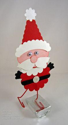 Stampin' Up! punch art rocking santa