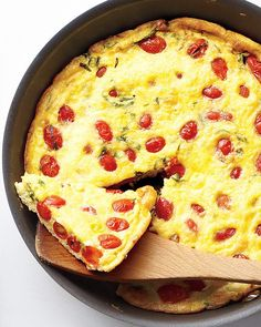 7 of 20 Tomato, Scallion, and Cheddar Frittata Juicy grape tomatoes and tangy cheddar add bright bursts of flavor to this easy egg dish. Get the Tomato, Scallion, and Cheddar Frittata Recipe Strata Recipes, Frittata Recipes, Egg Recipes, Cooking Recipes, Bacon Recipes, Muffin Recipes, Breakfast Menu, Breakfast Recipes, Breakfast
