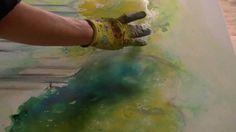 Acrylfarben fließen lassen, acrylic colours  floating