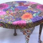 Bright floral table (Fabric Decoupaged)