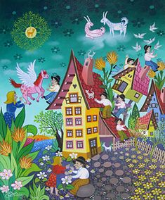 Floating Goats by Laszlo Koday - GINA Gallery of International Naive Art