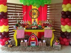 cumpleaños fiesta granja zenon Woody Birthday, 2nd Birthday Party Themes, Farm Animal Birthday, Cowboy Birthday, Kids Party Themes, Farm Birthday, Birthday Party Decorations, Farm Themed Party, Barnyard Party