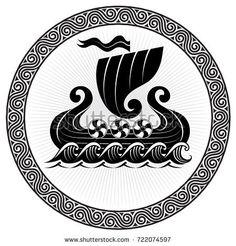 Viking Drakkar. Drakkar ship sailing on the stormy sea, vector illustration, isolated on black