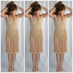 Vintage Sheer Tan Cotton Hand Crocheted Lace Skirt Waist 28 to 36 Inches by ChrisMartinDesigns on Etsy