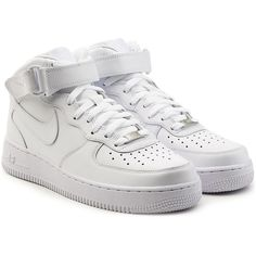 Nike Air Force 1 Mid 07 Leather Sneakers ($149) ❤ liked on Polyvore featuring shoes, sneakers, white, nike sneakers, high top shoes, white trainers, nike shoes and white leather high tops