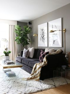 gold floor lamp | moroccan rug | fiddle leaf fig plant with acrylic coffee table