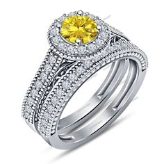 Round Cut Yellow Sapphire & Sim Diamond Engagement Bridal Ring Set Sz 5-12 AVL #aonedesigns