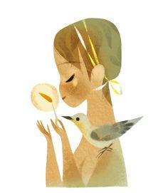 annette marnat: anniversaire. art illustration bird.