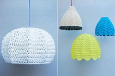 Propuestas deco tejidas a crochet  Texturas y colores en las lámparas de Flo's Market Lace Lampshade, Lampshades, Crochet Lamp, Crochet Home Decor, Modern Crochet, Color Combinations, Homemade, Stitch, Knitting