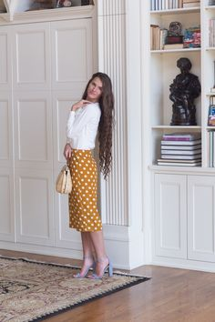 The Polka Dot Pencil Skirt - Dainty Jewell's Shop now for Modern Modest Vintage Apparel. Tons of Adorable Dresses, Bridesmaid Dresses, Tops, Skirts, Swimwear. We also have MODEST Swimwear! Long Skirt Outfits For Summer, Jean Skirt Outfits, Casual Skirt Outfits, Girly Outfits, Modest Outfits, Modest Fashion, Vintage Outfits, Fashion Top, Fashion 2018