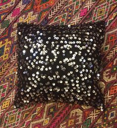Gorgeous Black Moroccan Wedding Blanket Cushion by Artofvintagesouk on Etsy