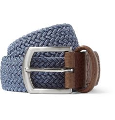 Anderson's - Leather-Trimmed Elasticated Woven Belt  MR PORTER
