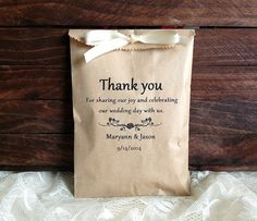 Personalized 20 rustic wedding favor bag