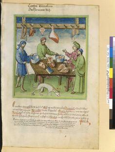 Tacuinum Sanitias 15C, Bibliothèque nationale de France, Latin 9333, fol.75 Marchand de cervelle