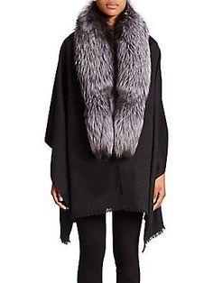Annabelle New York Fox Fur, Cashmere & Wool Wrap <br>