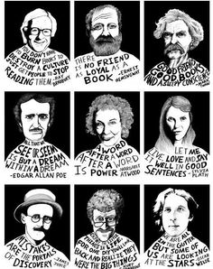 Great Photographic of famous authors and their takes on books: Bradbury, Poe, Tw… – Education Posters Enough Is Enough Quotes, School Bulletin Boards, English Bulletin Boards, High School English, Literary Quotes, I Love Books, Flip Books, Read Books, Book Quotes