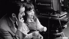 Director Stanley Kubrick with his daughter Vivian on the set of 2001: A Space Odyssey (1968).