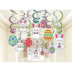 EASTER-DECORATIONS-CUT-OUTS-HANGING-PAPER-SWIRLS-PARTY-BUNNY-EGGS-30 PC-CEILING #Unbranded